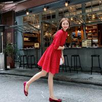 卡贝琳女2019新款秋装很仙的法国小众红色蕾丝连衣裙女法式复古高腰a字裙子女