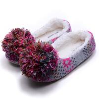 2018冬女棉拖鞋包跟防滑软底孕妇月子居家用室内静音卧室木地板鞋 玫红色