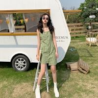 夏季韩版气质小清新格子方领吊带裙显瘦中长裙不规则无袖连衣裙女