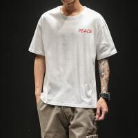 夏季男士圆领运动t恤潮男装韩版半袖大码青少年学生宽松纯棉短袖VZTX19007