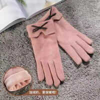 新款 冬秋手套女士冬天加厚保暖开车五指分指可爱秋冬季可触屏羊毛手套 均码