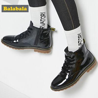 巴拉巴拉女童靴子2019春秋新款中大童儿童鞋子女孩加绒百搭短筒靴