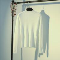 套头毛衣秋冬新款紧身打底衫女长袖内搭上衣针织衫半高领修身加厚打底衫女毛衣女
