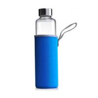陶瓷故事 密封带盖耐热时尚玻璃车载瓶 玻璃杯 水杯玻璃矿泉水瓶 550毫升大号 蓝色