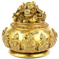 纯铜五路财神聚宝盆摆件摆设大聚财家居装饰品工艺品