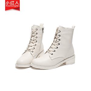 小红人【年终狂欢】2018新款PU加绒短靴女鞋子中跟粗跟秋季英伦系带短筒靴百搭女靴子W850-1