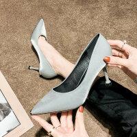2019春季新款法式少女高跟鞋女细跟尖头绸缎银色网红性感职业单鞋