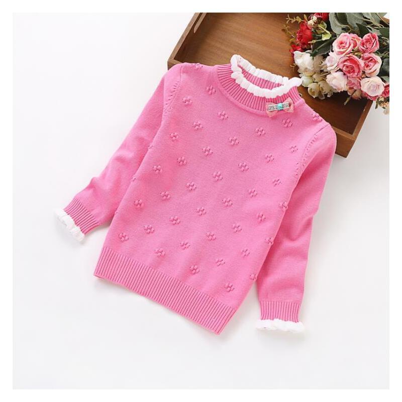 6-8岁长袖小孩白色1-3岁女童毛衣秋款7岁1岁半高领打底保暖短款