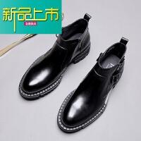 新品上市秋季马丁靴男英伦厚底增高男靴子韩版短靴靴男士小圆头高帮