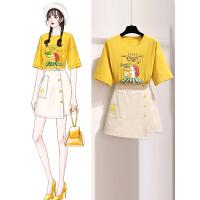 安妮纯黄色很仙的连衣裙2020新款女夏季时尚学生小个子t恤套装流行裙子