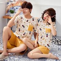 夏季情侣女短袖睡衣可外穿韩版男士全棉家居服套装