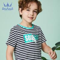 【秒杀价:49元】souhait水孩儿童装夏季新款圆领衫儿童T恤短袖T恤条纹圆领衫SHNXBD10CT610