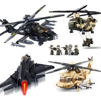军事系列飞机坦克直升机积木模型拼装拼插兼容乐高男孩子启蒙益智儿童玩具礼物6-8岁