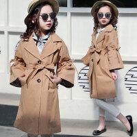 儿童风衣 女童装2020韩版女孩洋气时尚外套秋装中大童儿童中长款腰带风衣外套