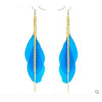 时尚甜美耳饰 炫彩羽毛金属链条耳环 欧美时尚饰品 可换无耳洞耳夹