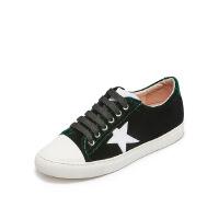爱旅儿哈森旗下五角星平跟系带小白鞋运动鞋女EC73001