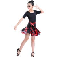 秋冬儿童拉丁舞裙少儿演出服女童舞蹈短袖女孩拉丁印花比赛练功服