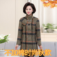 中老年女装19新款秋冬装上衣大码中长款保暖洋气妈妈毛呢外套