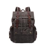 欧美帆布包大容量双肩包复古男背包户外旅行包电脑书包潮流