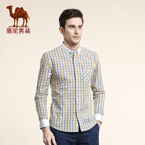 骆驼男装 春季新款青年柔软格子长袖衬衫 日常休闲绅士衬衣男