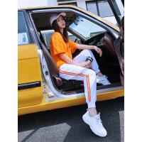 2019流行新款休闲套装女宽松韩版短袖长裤时尚两件套洋气夏天显瘦 桔色T恤+白色裤子