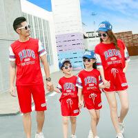 亲子装 父子阳光活力运动T恤短裤母女休闲棉质字母套装2019夏季新款中性两件套家庭装