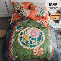 床品四件套纯棉全棉床单被套1.8m床被子床上用品简约4件套