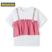 巴拉巴拉女童打底衫中大童短袖T恤夏装2019新款童装儿童假两件潮