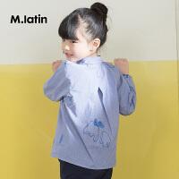 【1件3折价:110.7元】马拉丁童装女童长袖衬衫新品童趣满印千鸟格衬衫
