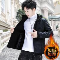 皮毛一体男韩版修身帅气冬季男士皮衣加绒加厚青年外套男装皮夹克