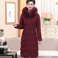 冬季中老年羽绒服女款加厚真毛领连帽防寒中长款