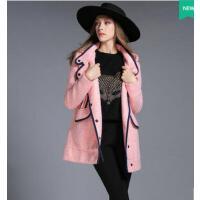 大码女装风衣装新款胖mm中长款连帽撞色毛呢大衣外套