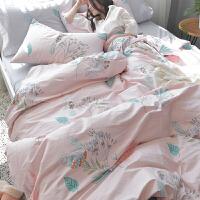 小清新被套床单四件套田园全棉三件套纯棉床笠款床上用品1.5米1.8