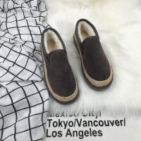 冬季新款原宿懒人面包棉鞋一脚蹬加绒厚学生保暖滑平底雪地靴
