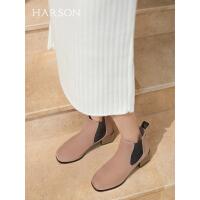 哈森2019冬季新款羊反绒粗中跟短靴女 通勤拼色女切尔西靴HA96503