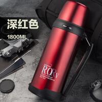 大容量保温杯1000毫升保温水壶真空不锈钢户外水壶2升家用壶 抖音 酒红色 BJ001-1800 送杯刷