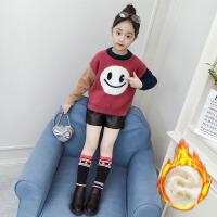 儿童毛衣 女童毛衣2020新款冬装韩版加厚加绒针织衫女童中大童卡通仿貂绒打底衫