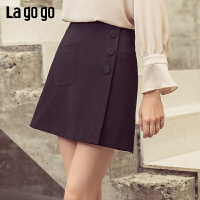 【清仓5折价134】Lagogo/拉谷谷2019春季新款时尚气质修身简约半身裙女IABB131A41