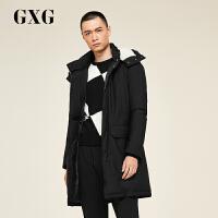 【联合超品日 到手价:569.7 】GXG男装 冬季男士时尚都市青年流行黑色保暖中长款羽绒服外套男