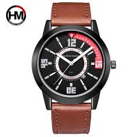 HM汉娜马丁男士日历运动休闲皮带石英飞行员手表防水表