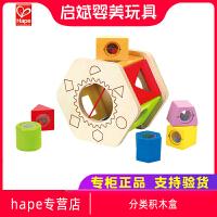 Hape分类积木盒1-2-3岁木制宝宝男女孩智力好帮手儿童益智玩具