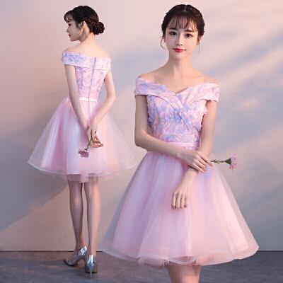 粉色伴娘服2019新款短款生日学生聚会派对宴会小晚礼服连衣裙女夏   由于快递停运,店铺于1月25日至2月13日放假,期间产生的订单将于2月15号前发