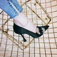 尖头鞋绸缎浅口黑色宴会细跟高跟鞋女婚鞋单鞋女秋夏2018新款水钻