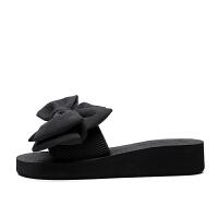 人字拖女夏时尚外穿拖鞋2018新款一字拖坡跟厚底海边沙滩鞋