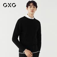 GXG男装 秋季男士时尚青年韩版修身黑色低领毛衫毛衣男