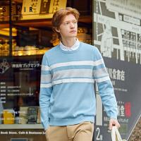 94森马提花毛衫男青年衬衫领假两件毛衣撞色条纹拼接针织套头衫帅气