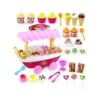 超市推车礼物套装儿童过家家女孩仿真灯光音乐糖果船冰淇淋玩具车