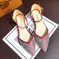瓢鞋鞋子2018新款女夏百搭韩版水钻尖头中低跟单鞋温柔鞋仙女学生