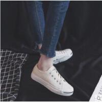 新款黑色帆布鞋女鞋韩版百搭学生平底复古港味小白鞋板鞋