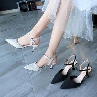 户外细跟尖头高跟鞋韩版百搭性感凉鞋女仙女风配裙子的鞋